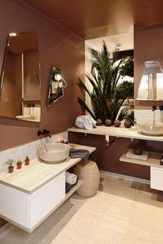 Pretty bathroom natural style and hygge terracotta blush colors with light wood and tiles elegant white round basque and minimalist bathroom cabinet rectangular stool style wicker pouf bath towels Source by clemATC Natural Bathroom, Stone Bathroom, Bathroom Plants, Bathroom Green, Beige Bathroom, Vanity Bathroom, Boho Bathroom, Home Design, Toilet And Bathroom Design