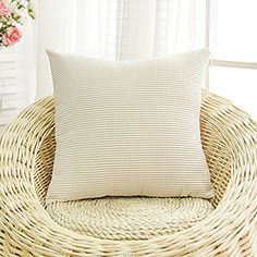 """Corduroy Solid Square Throw Pillow Cover - 18"""" x 18"""", Beige N&B"""