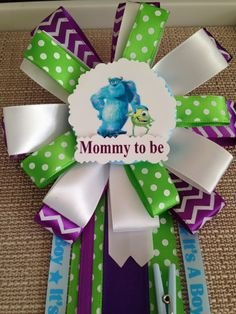 Baby Shower Corsage Pin  Monsters Inc / by BabyGuardians on Etsy