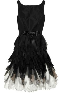 Oscar de la Renta | Fringed-skirt silk-taffeta dress