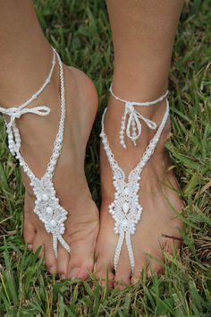 Bridal Barefoot Sandals Beach Wedding Micro Macrame by JJJCrafts, $62.00