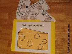 Carrie's Speech Corner: Following Directions Activity (1-step, 2-step, and 3-step)