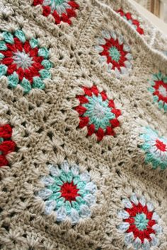 Inspiration :: Pretty color combination on this granny square blanket.  #crochet #afghan #throw #pillow