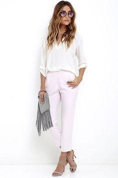 Board Meeting Light Pink Trouser Pants at Lulus.com!