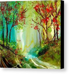 Trees Canvas Print featuring the painting Fall Day by Alexis Bonavitacola