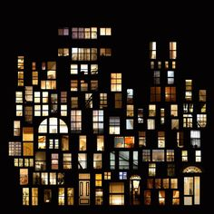 Photographer Anne-Laure House photographs illuminated windows at night in cities around the world, and arranges them into beautiful collages.