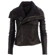 RICK OWENS leather biker jacket ($1,650) ❤ liked on Polyvore featuring outerwear, jackets, leather moto jackets, leather biker jacket, cropped biker jacket, cropped moto jacket and genuine leather biker jacket