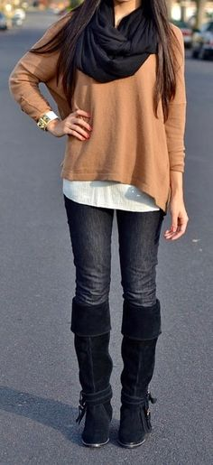 Fall Outfit With Long Boots,Plain Sweater and Black Scarf