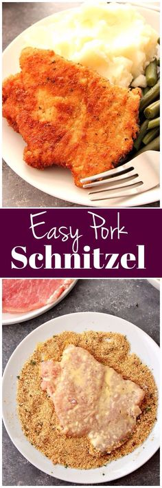 Pork Schnitzel Recipe - juicy and crispy schnitzel made with thin pork loin cutlets, lightly breaded and fried to golden perfection. Served with mashed potatoes, makes for a pure comfort food! www.crunchycreamysweet.com #pork
