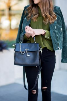 Day to Night Fall Outfit. Black distressed skinnies with olive top. Faux Suede Jacket