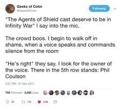 YASSSSSSSSS<<< The Avengers deserve to that the beloved Phil Coulson is alive and he still believes in heroes!! SERIOUSLY DO THEY KNOW HE IS ALIVE?? I need onscreen proof of this