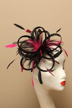 Black and Hot Pink Feather Fascinator Hat