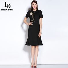 Autumn Women Elegant Mermaid Dress Vintage Short sleeve Short sleeve Button Embroidery Sexy Black Dress $77.21   => Save up to 60% and Free Shipping => Order Now! #fashion #woman #shop #diy  http://www.clothesdeals.net/product/2016-runway-designer-autumn-women-elegant-mermaid-dress-vintage-short-sleeve-short-sleeve-button-embroidery-sexy-black-dress