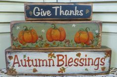 Thanksgiving Give Thanks Autumn Blessings by CarolAnnsTole on Etsy, $18.95