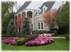 Any landscape design should frame your home. As with shrubs or trees, you can choose to create a symmetrical floral landscape that balances each side of the house. Another option includes planting flowers from the corners of your home in, decreasing in height to draw attention to the entryway of the home. Dramatic front yard floral displays often require a little finishing work to make the landscape design look polished. Edge your gardens with bricks, stone or pavers to enhance and outline…