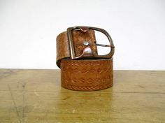 Vintage Tooled Wide Distressed Leather by SkinnedKneesVintage