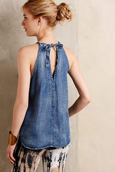 This is a newChambray Halter Tank from anthropologie.com, but would be easy to make from recycled denim.