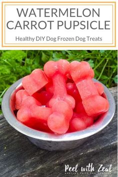 Pupsicle Easy DIY frozen dog treat with just two ingredients- carrot and watermelon. Call it a popsicle or a pupsicle we don't are as long as your dog is happy! Help your dog cool off this summer with a hydrating treat!Easy Easy may refer to: Puppy Treats, Diy Dog Treats, Homemade Dog Treats, Healthy Dog Treats, Summer Dog Treats, Dog Biscuit Recipes, Dog Treat Recipes, Dog Food Recipes, Food Dog