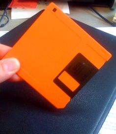 Floppy disc...I used to have like every color of these!!