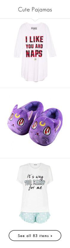 """Cute Pajamas"" by chibi-shinigami ❤ liked on Polyvore featuring intimates, sleepwear, pajamas, tops, shirts, t-shirts, pijamas, pink pjs, sleep shirts and night shirt"