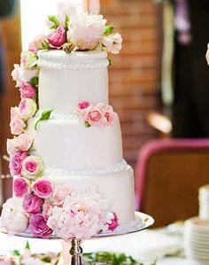 WeddingChannel Galleries: White Wedding Cake with Pink Peonies