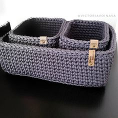 Crochet Storage Basket, Crochet boxes, Bedroom Storage, Eco friendly Grey Storage Baskets, Set of 3 Baskets - Crochet Storage, Crochet Box, Crochet Basket Pattern, Knit Basket, Crochet Amigurumi, Easy Crochet Patterns, Crochet Baskets, Basket Organization, Storage Baskets