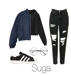 """Fan signing with Suga"" by infires-jhope on Polyvore featuring Topshop, adidas Originals and Retrò"