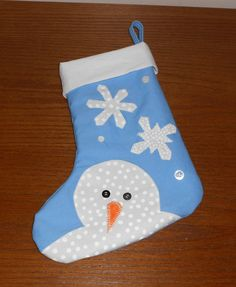 Handmade Christmas Stocking  Snowman by WendaLynneDesigns on Etsy