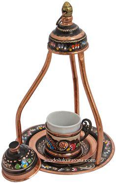 Espresso or Turkish Coffee Cup in Copper Casing by AnadoluKuratoru