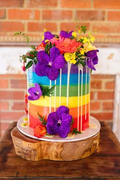 Look at this stunning rainbow wedding cake! Isn't it beautiful? Take a look at all the details fro Chenai and Mark's fun-filled, colourful wedding on HOORAY! Wedding Unique, Cool Wedding Cakes, Unique Weddings, Rainbow Wedding, Colorful Cakes, Unique Cakes, Beautiful Bride, Wedding Colors, Groom