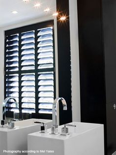 black trim and white shutters indoor at DuckDuckGo Indoor Shutters, White Shutters, Interior Shutters, Wood Shutters, Wood Doors, Barn Doors, Black And White Bathroom Floor, Black White Bathrooms, Jaguar