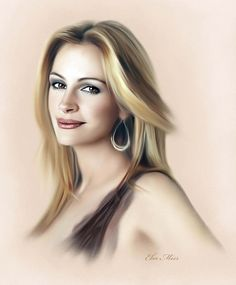 Julia Roberts - painting by Ebn Misr/ This is also done with color pencils.. Stunning work