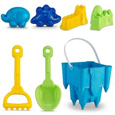 "Castle Bucket Tool Set 7 Pcs with Animal Molds |7"" Sand Castle Mold 
