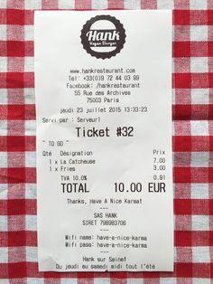 Hank Burger Ticket