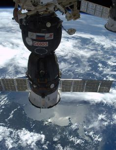 This brave little ship carried us from Earth to orbit, now safely nestled into Station. Ready when we need her to fly. Photo Cdn. astronaut Chris Hadfield. (2013)