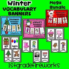 Vocabulary Banners for the months of December, January, & February.Banners can be hung on a string, a ribbon, a pocket chart, or attached to a bulletin board or wall.Banners make a HUGE RESOURCE for writing centers.ESL students will have a visual for language aquisition.Emergent readers will have scaffolded support for writing.Gifted students can expand their writing portfolios.December themes include:Christmas, Arctic Anmials, HanukkaJanuary themes include:Snowman, MLK, Winter, PenguinFe...