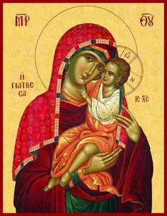 """Παναγία Γιάτρισσα. Φορητή εικόνα διά χειρός Τηλέμαχου Τσουμπρή. / Theotokos """"Giatrissa"""" (""""The Healer""""). Portable icon painted by Tilemachos Tsoumpris."""