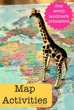 Geo-literacy world map activities for kids including free world landmark printables Geography Activities, Geography For Kids, Geography Map, Teaching Geography, Social Studies Activities, World Geography, Teaching Social Studies, Literacy Activities, Educational Activities