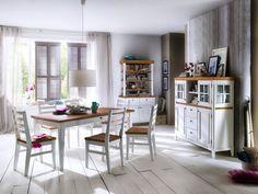 SVANTE Schrank Buffet Esszimmer 110 Akazie Weiß & Natur