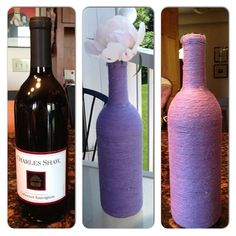 Wine bottle, tacky glue, and colored yarn. I'm doing a patron bottle next .  Note: after you wash out the wine bottle, put a little baking soda in the bottom for a day to get the old wine smell out. Photo by herbylovebug