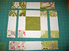 Variation of Disappearing 9 Patch. Via http://mypatchwork.wordpress.com/2010/10/15/disappearing-9-patch-variation-block-with-charm-squares/