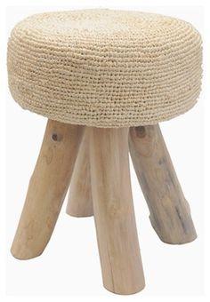 Crocheted Raffia Stool Contemporary Bar Stools, Creative Textiles, Bar Chairs, Sofa Chair, Textile Art, Crochet, Wicker, Duvet, Furniture Design