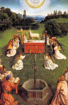 JAN VAN EYCK, pittore. Polittico dell'Agnello Mistico, olio su tavola. Databile ca 1425-29. Si trova alla cattedrale di San Bavone, Gand.