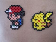This is a fuse/hama/perler bead sprite of the most popular Pokemon pair- Ash Ketchum and Pikachu from the first generation Pokemon gameboy games. Perler Bead Designs, Hama Beads Design, Pearler Bead Patterns, Perler Patterns, Pearler Beads, Pokemon Perler Beads, Pixel Beads, Fuse Beads, Ash E Pikachu