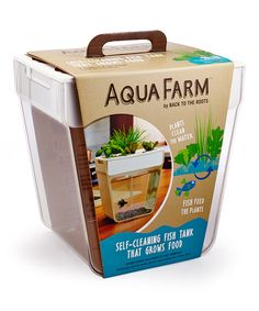 Effortlessly keep fish fed and the tank fresh with this aqua farm. Simply fill with water, add fish and plant seeds, and this closed-loop farming system combines aquaculture and hydroponics to create a self-cleaning fish tank that grows its own food for a few small fishes.
