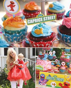 {Elmo & Dorothy} Sesame Street Birthday Party - Mush's Second. Must do, since she is now obsessed with Elmo. Elmo Birthday, First Birthday Parties, Birthday Party Themes, Girl Birthday, First Birthdays, Birthday Ideas, Birthday Cupcakes, Elmo Cupcakes, Birthday Sweets