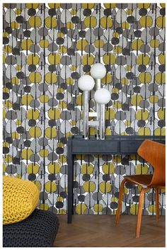 Fun with retro patterned wallpaper.
