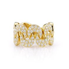 Samantha Heather- Moon shaped ring is set in 14K yellow gold and features 1.40 carats of diamonds