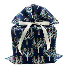 Dark Blue Reusable Fabric Gift Bag with Menorahs for Hanukkah (Large 21 Inches by 27 Inches) -- Learn more by visiting the image link.