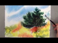 Wet on Wet Watercolor lesson background tree etc